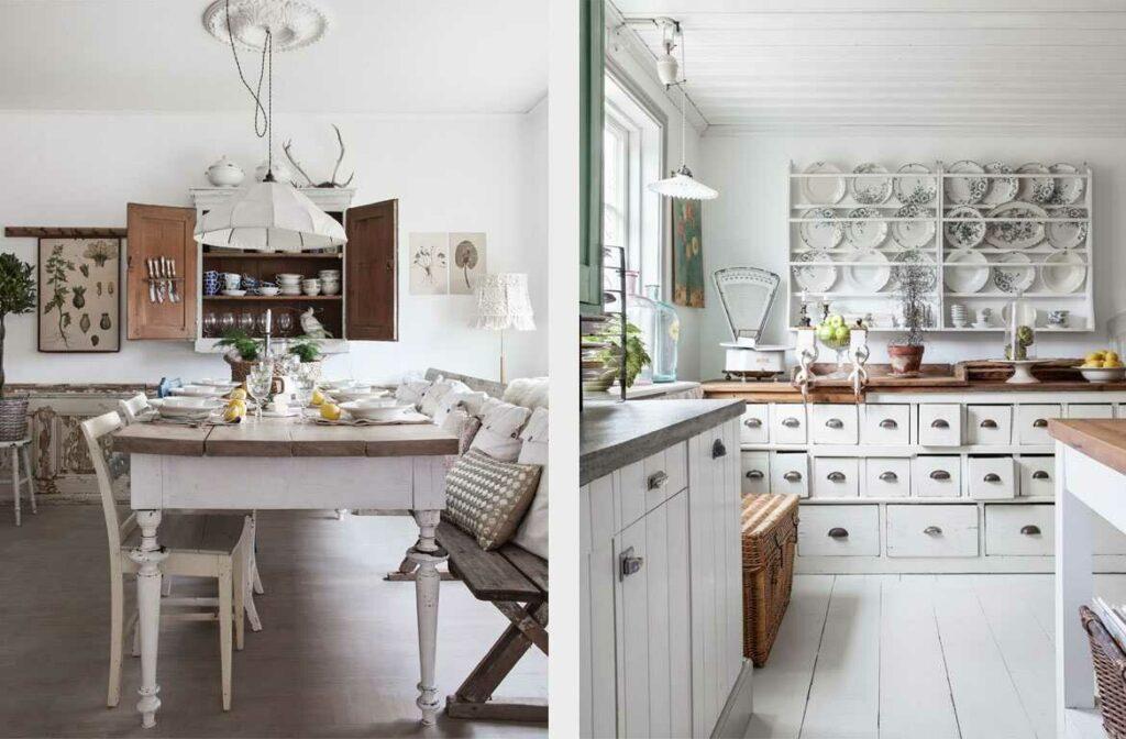 варианты кухни в стиле винтаж с применением старины