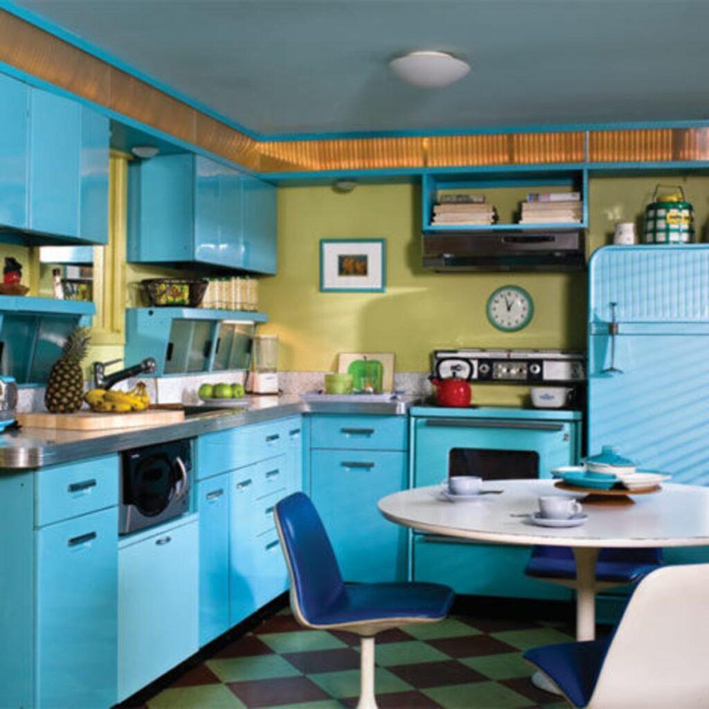 голубая ретро кухня