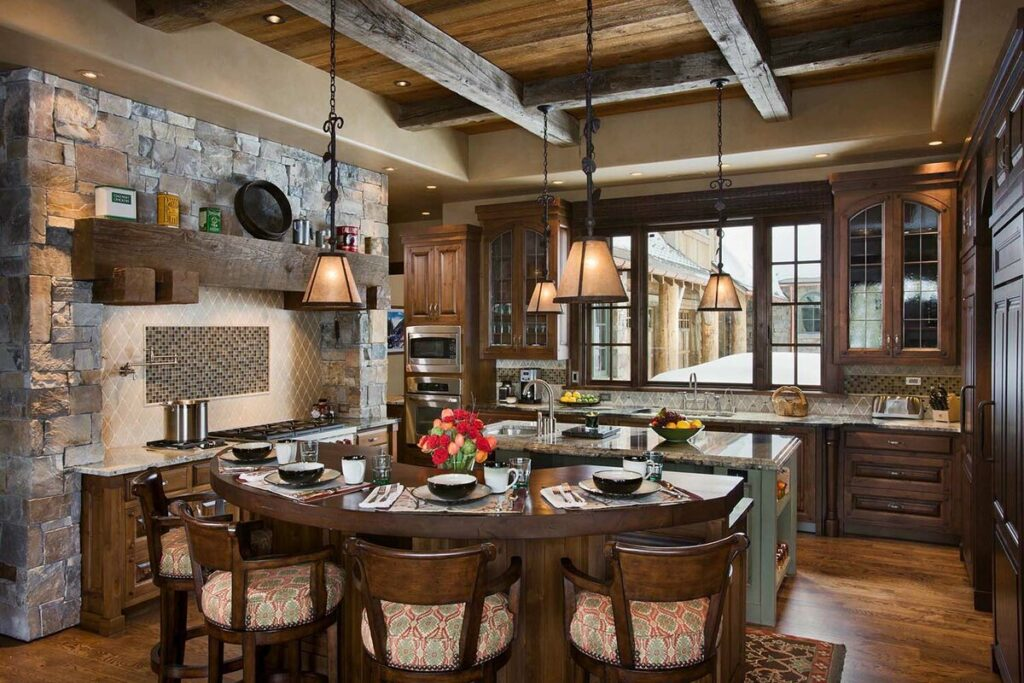 гранж кухня с деревянной отделкой