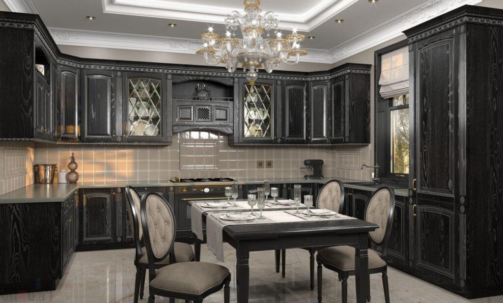 кухня в темных тонах в классическом стиле