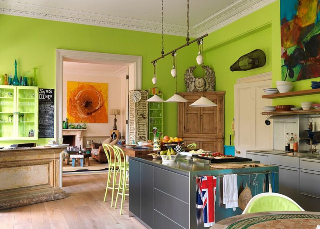 кухни в стиле эклектик в зеленом цвете